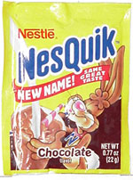 Packet of Nesquik powder included in box of cereal