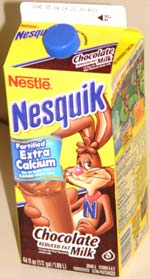 Nesquik Reduced Fat Chocolate Milk in a half gallon container
