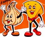 Old Dutch Cheddar and Garlic mascots