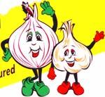 Old Dutch onion and garlic mascots