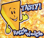Reggie Wedgie, the cheese wedge mascot from a bag of cheddar cheese popcorn