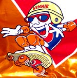 Vitner's Chip Bag mascot goes skateboarding