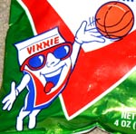 Vitner's Chip Bag mascot plays basketball