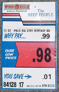 Shelf label from Winn-Dixie in West Palm Beach