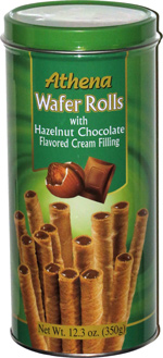 Athena Wafer Rolls with Hazelnut Chocolate Flavored Cream Filling