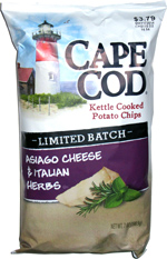 Cape Cod Kettle Cooked Potato Chips Limited Batch Asiago Cheese & Italian Herbs