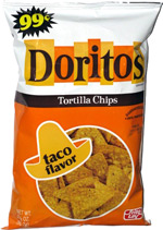 Doritos Tortilla Chips Taco Flavor Retro Bag