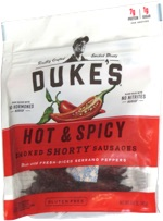 Duke's Hot & Spicy Smoked Shorty Sausages Made with Fresh-Diced Serrano Peppers