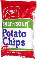 Evans Salt n'Sour Potato Chips