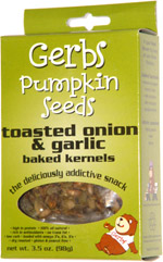 Gerbs Pumpkin Seeds Toasted Onion & Garlic Baked Kernels