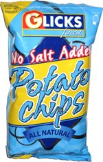 Glicks Finest No Salt Added Potato Chips