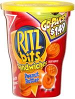 Go Paks! Ritz Bits Sandwiches Peanut Butter