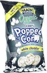 Hain Pure Foods Organic 100% Popped Corn All Natural Mini Cakes White Cheddar Low Fat