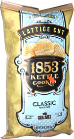 1853 Kettle Cooked Lattice Cut Classic Potato Chips with Sea Salt