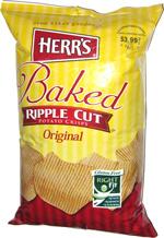 Herr's Baked Ripple Cut Potato Crisps Original