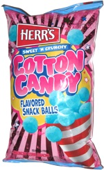 herrs sweet n crunchy cotton candy flavored snack balls