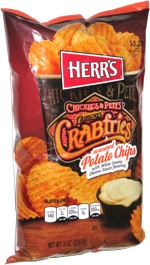 Herr's Chickie's & Pete's Famous Crabfries seasoned Potato Chips with White Creamy Cheese Sauce