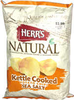 Herr's Natural Kettle Cooked Potato Chips Sea Salt