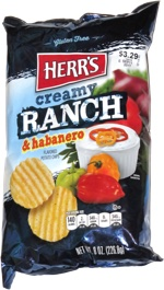 Herr's Creamy Ranch & Habanero Flavored Potato Chips