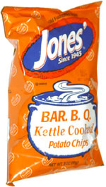 Jones' Bar. B. Q. Kettle Cooked Potato Chips