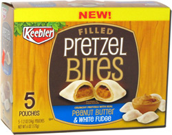Keebler Filled Pretzel Bites Peanut Butter and White Fudge