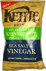 Kettle 40% Reduced Fat Krinkle Cut Potato Chips Sea Salt & Vinegar