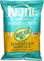 Kettle Potato Chips Cooked in 100% Avocado Oil Hawaiian Barbecue with Ginger Infused Sea Salt
