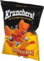 Krunchers Kettle Cooked Potato Chips Hot Buffalo Wing