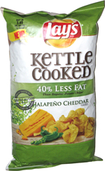 Lay's Kettle Cooked 40% Less Fat Jalapeño Cheddar