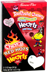 Redhead Chewy Lemonhead & Friends Hearts Fruit Candy and Chewy Red Hots Cinnamon Hearts Candy
