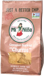 "Mi Niña White Corn Tortilla Chips Cinnamon Sugared ""Churros"""