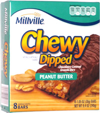 Millville Chewy Dipped Chocolatey Covered Granola Bars Peanut Butter