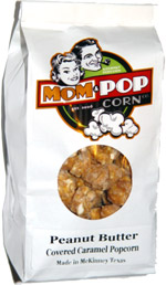 Mom & Popcorn Peanut Butter Covered Caramel Popcorn