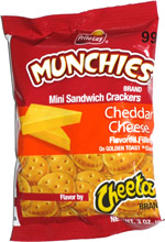 Frito-Lay Munchies Mini Sandwich Crackers Cheddar Cheese Flavored Filling on Golden Toast Crackers Flavor by Cheetos