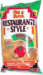 Old Dutch Restaurante Style Tomato Roasted Garlic Flavour Bite Size Premium Tortilla Chips