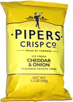 Pipers Crisp Co. Lye Cross Cheddar & Onion Flavored Potato Chips