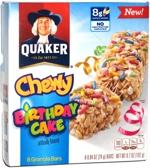 Quaker Chewy Birthday Cake Granola Bars