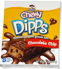 Quaker Chewy Dipps Chocolatey Dippled Granola Bar Chocolate Chip