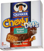 Quaker Chewy Dipps Peanut Butter Chocolatey Covered Granola Bars