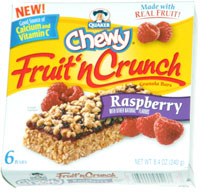 Quaker Chewy Fruit 'n Crunch Granola Bars Raspberry