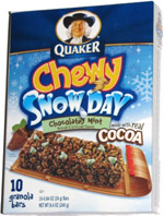 Quaker Chewy Snow Day Chocolatey Mint Granola Bars