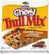 Quaker Chewy Trail Mix Granola Bars Chocolate Raisin Peanut