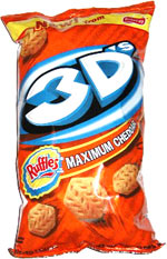 Ruffles 3D's Maximum Cheddar flavored potato snacks