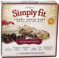 Simply Fit Chewy Snack Bars Whole Oats and Flax Yogurt Berry Parfait
