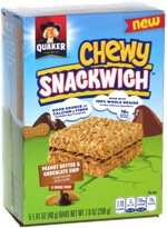 Quaker Chewy Snackwich Peanut Butter & Chocolate Chip