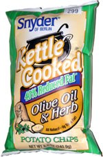 Snyder of Berlin Kettle Cooked 40% Reduced Fat Olive Oil and Herb Potato Chips
