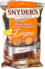 Snyder's of Hanover Peanut Butter Pretzel Sandwich Dips Dipped in Hershey's Milk Chocolate