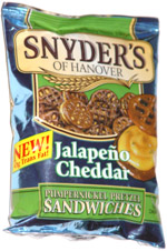 Snyder's of Hanover Jalapeno Cheddar Pumpernickel Pretzel Sandwiches