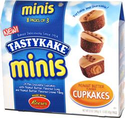 Tastykake Minis Peanut Butter Flavored Cupkakes made with Reese's Peanut Butter