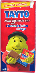 Tayto Milk Chocolate Bar with Cheese & Onion Crisps